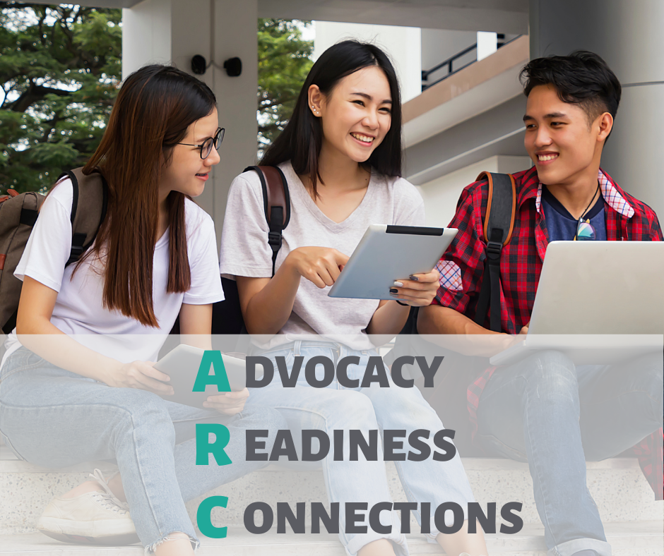 """A photo of three teenagers sitting on a step using technology. Underneath, there is text stating """"Advocacy, Readiness, Connections."""""""