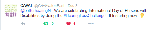 Coalition Against Violence - Hearing Loss Challenge: Your Stories