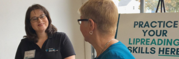 Andrea Augot, who has profound hearing loss, and helps teach lip reading at the Canadian Hard of Hearing Association-Newfoundland and Labrador, was at the launch of its online lip-reading course, Read Our Lips, Thursday at the St. John's Farmers' Market.